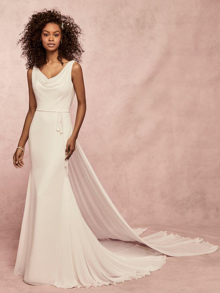 Rebecca Ingram Spring 2019 sheath wedding dress with cowl neck