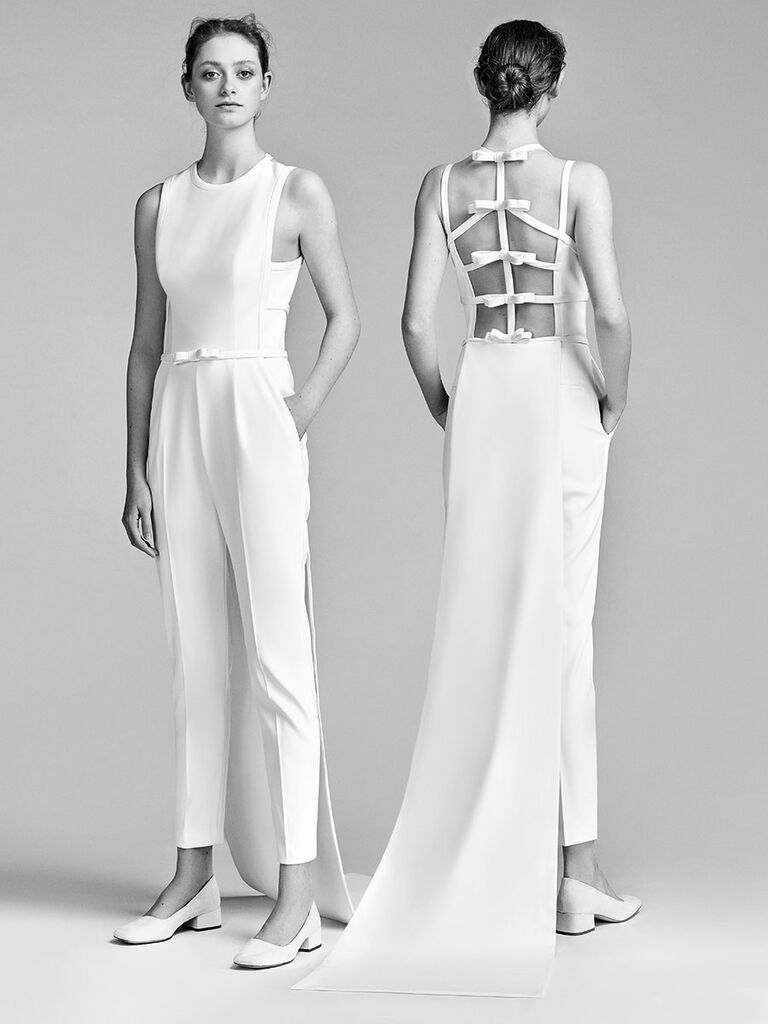 eea15701adf Viktor   Rolf Spring 2018 tailored crewneck jumpsuit with perpendicular bow  detail on the back