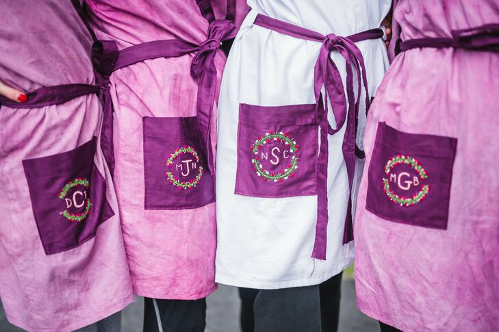Purple Monogrammed Bride and Bridesmaids Robes