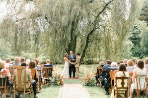 Bohemian Wedding Ceremony in Front of a Willow Tree at Succop Conservancy in Nixon, Pennsylvania