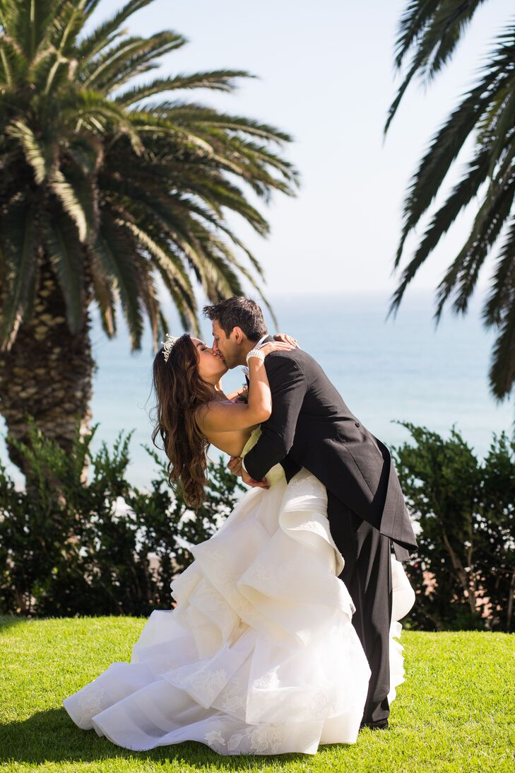 """We wanted our ceremony to overlook the ocean but our reception to be indoors, and our venue allowed us both,"" says Kristy, who held three wedding ceremonies at Bel-Air Bay Club in Los Angeles, California."