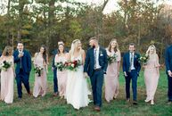 A rustic, bohemian theme defined Nicole	Walther and Clark Hastings's autumnal North Carolina wedding. The fall-inspired color palette showed up everyw