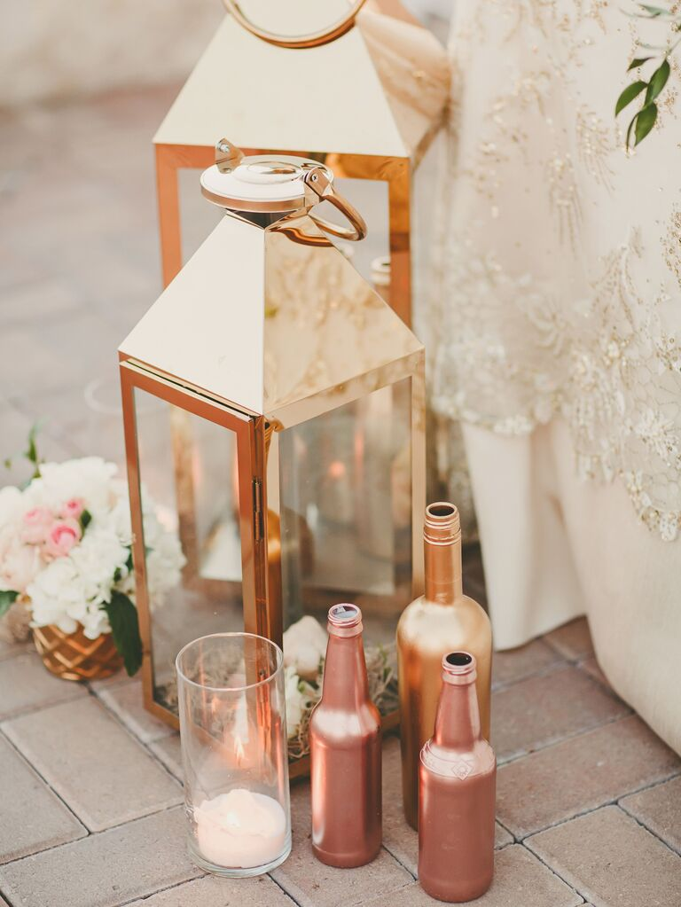 Gold Lanterns, Bottles and Candles ceremony aisle decor