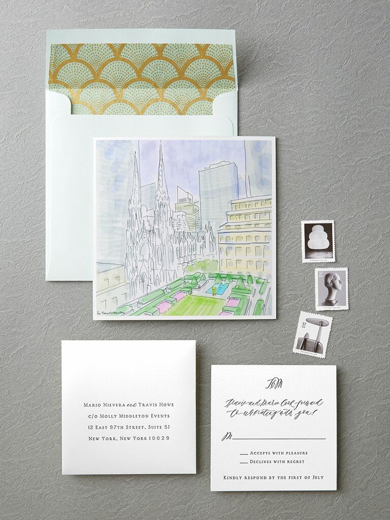 20 prettiest wedding invitations regas studio watercolor cityscape wedding invitation stopboris