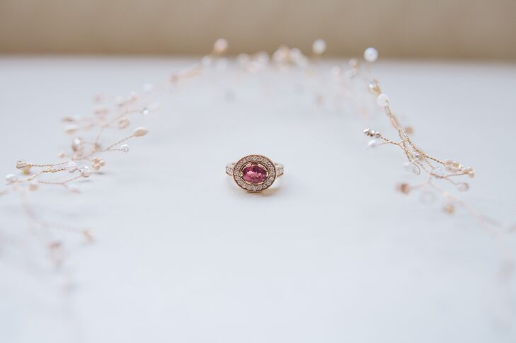 """Rob designed a unique pink tourmaline engagement for Sarah prior to popping the question. """"I suggested tourmaline because I'm from Maine and it's our state stone,"""" the bride says."""