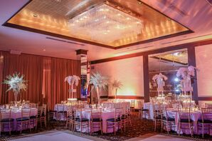 White Candlelit Reception with Gold Chiavari Chairs