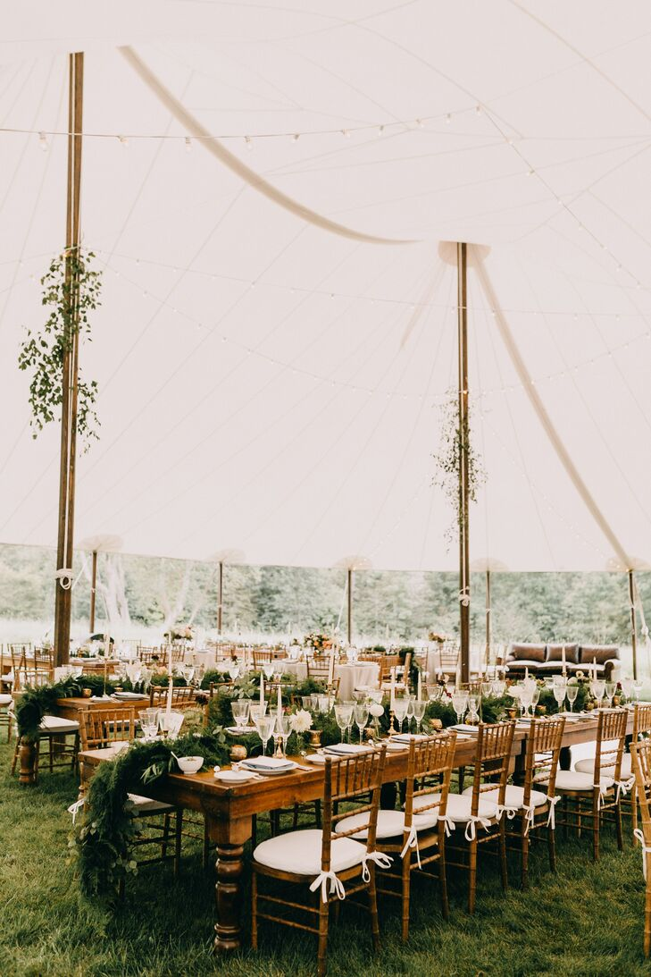 Tented Reception with Hanging Greenery, Dining Tables and Chiavari Chairs