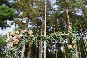 Dahlia and Eucalyptus-Trimmed Birch Arch