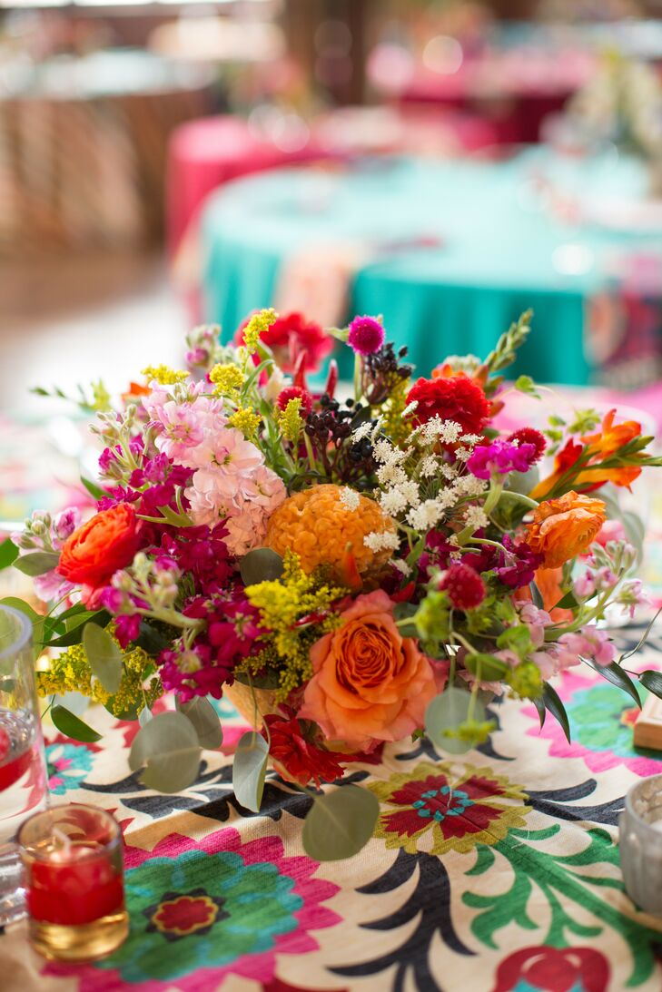 Low Orange and Red Coxcomb and Rose Centerpiece