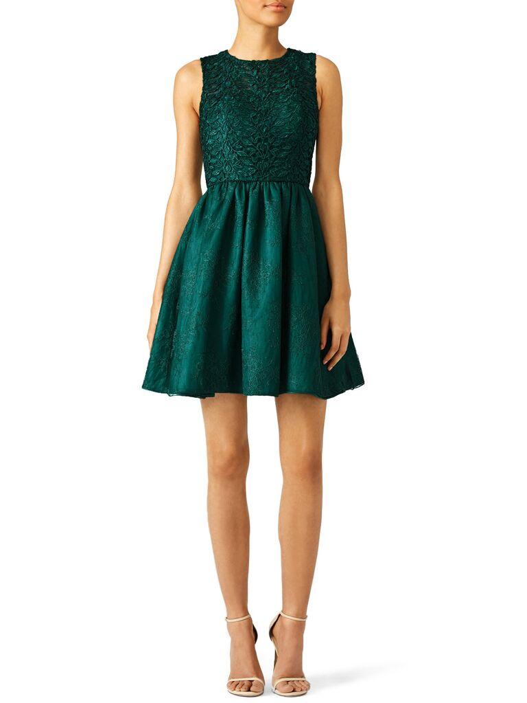 Short green winter wedding guest dress