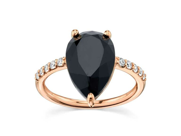 Black onyx teardrop engagement ring with rose gold band