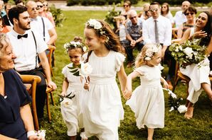 Rustic Flower Girls with White Dresses and Flower Crowns