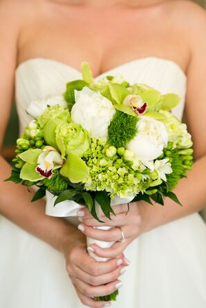 Green Orchid and Hydrangea Bouquet With White Peonies