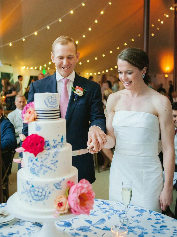 Traditional Cake Cutting with Preppy Tiered Wedding Cake