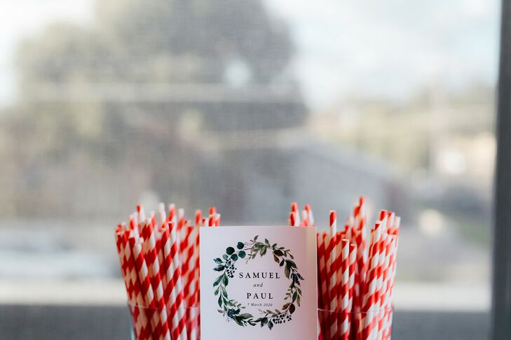 Custom Sign with Straws at Wedding in Australia