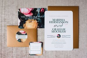 Modern Gold and Floral Wedding Invitations