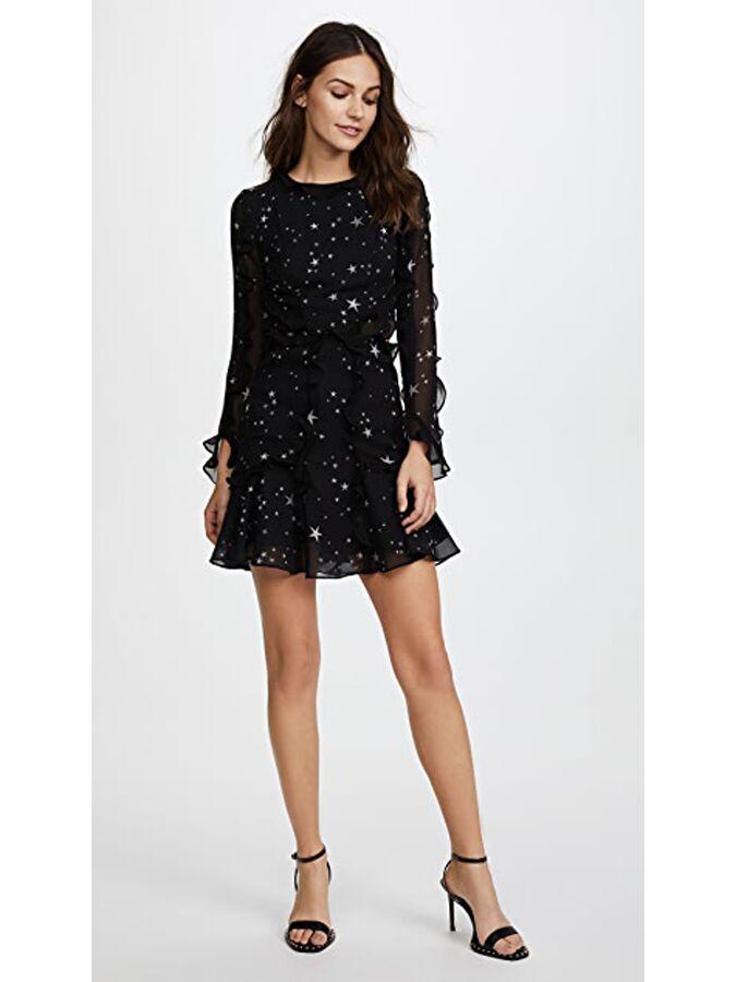 Black star ruffle mini dress