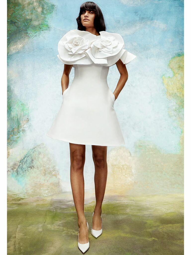 Viktor&Rolf wedding dress short dress with flowers on shoulders