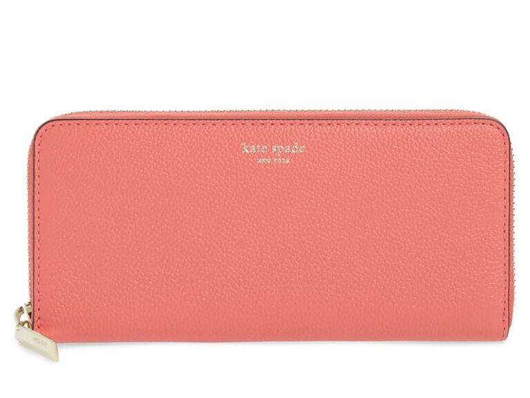 Coral pebbled leather wallet