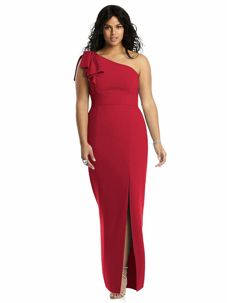 Bowed one-shoulder trumpet gown in red