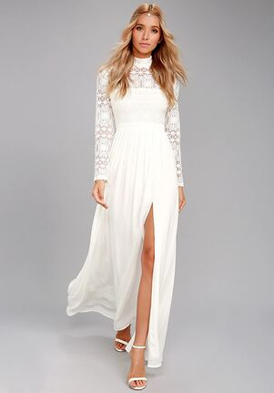 Lulus In Dreams White Long Sleeve Lace Maxi Dress A-Line Wedding Dress