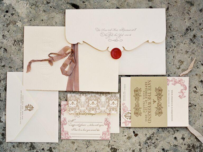 Embellished wedding invitations