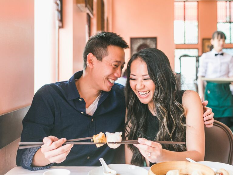 A Relaxed, Restaurant Engagement Photo Featuring Dim Sum