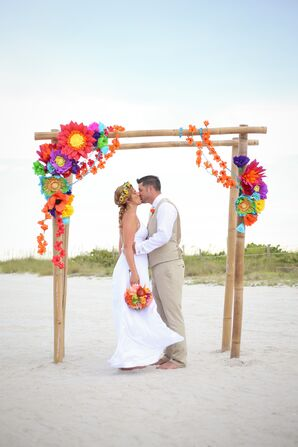 Wooden Ceremony Arch With Paper Flowers