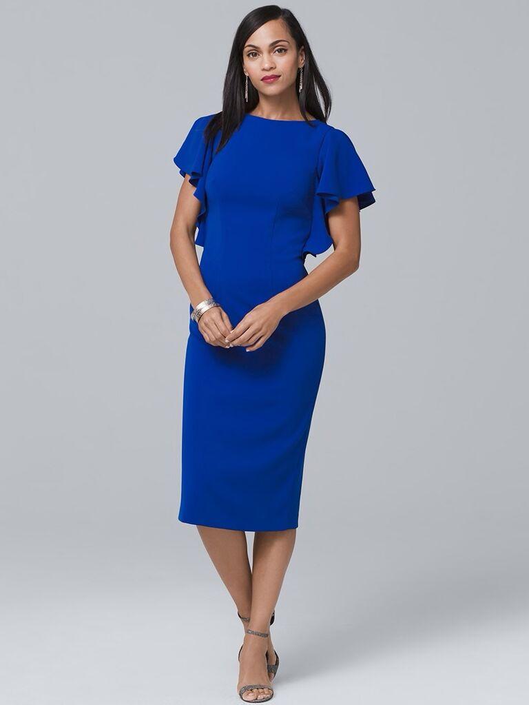 706eee335000 Carmen Marc Valvo flutter-sleeve sheath dress