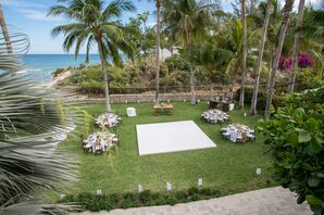Tropical Courtyard Reception With String Lights