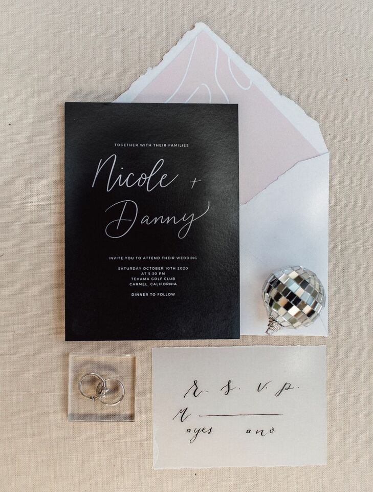 Black-and-White Invitation for Wedding at Tehama Golf Club in Carmel-By-The-Sea, California