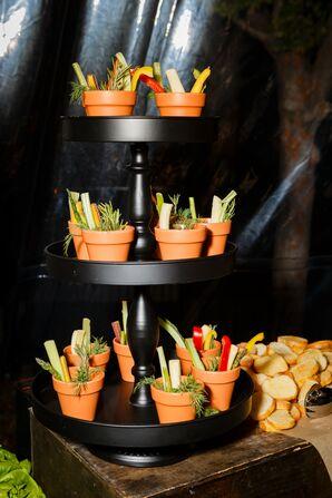 Vegetables in Tiered Terra-Cotta Pots