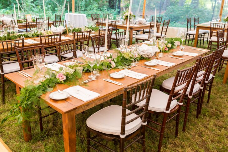 Tented Backyard Reception With Garland Centerpieces