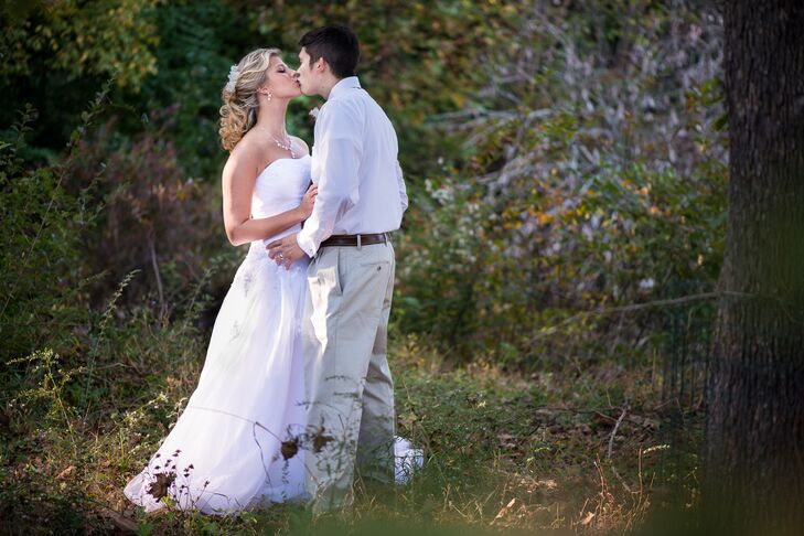 """We had our wedding at Mountain Park in Woodstock because it had indoor and outdoor spaces with a pond, meadow and gazebo that I loved,"" says Emily."