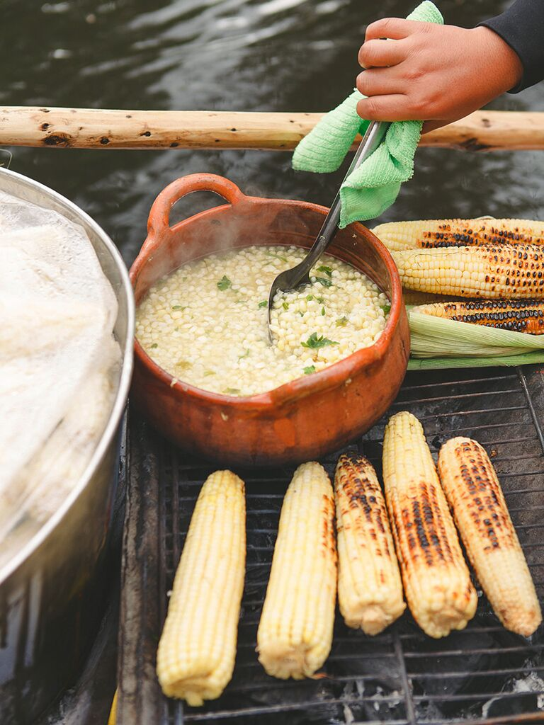 Freshly grilled corn idea for a wedding reception entree