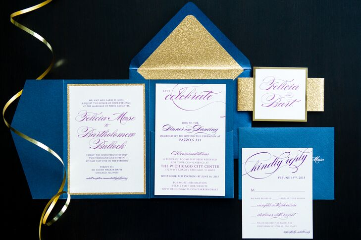 """""""I lined my save-the-dates with gold glitter, and it created a gold glitter theme for all my details,"""" Felicia says."""