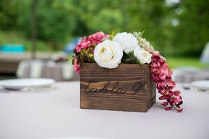 Wooden Box Centerpiece With Carved Table Number