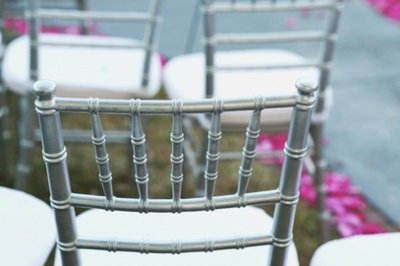 $4 SILVER, CLEAR & MAHOGANY Chiavari Chair Rentals