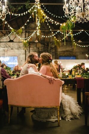 Industrial Reception with Vintage Furniture and String Lights
