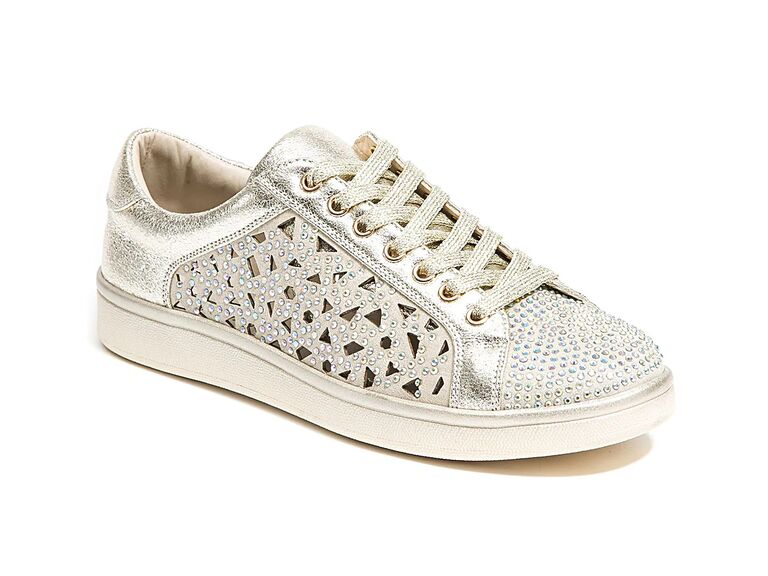 Gold crystal-studded sneakers