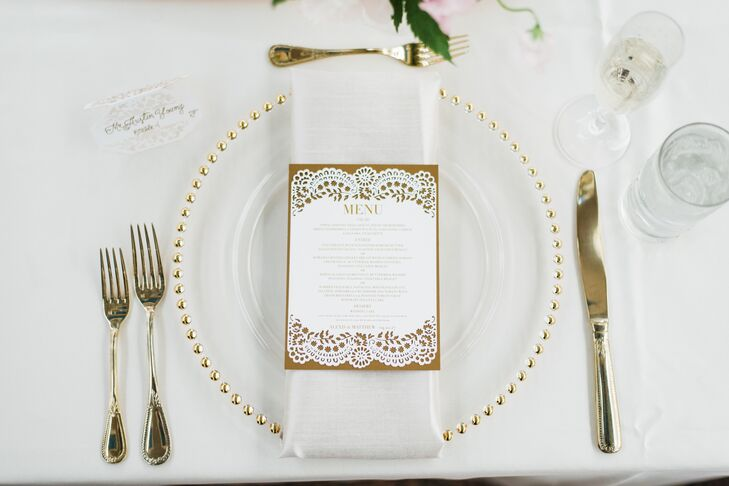 Gold-Beaded Chargers and Flatware