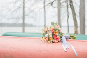 Coral and Ivory Bridal Bouquet With Eucalyptus