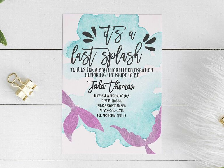 Mermaid themed bachelorette party invitations