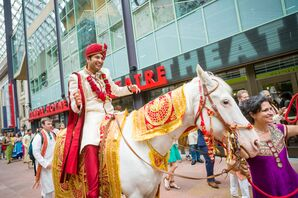 Indian Baraat Processional on White Horse