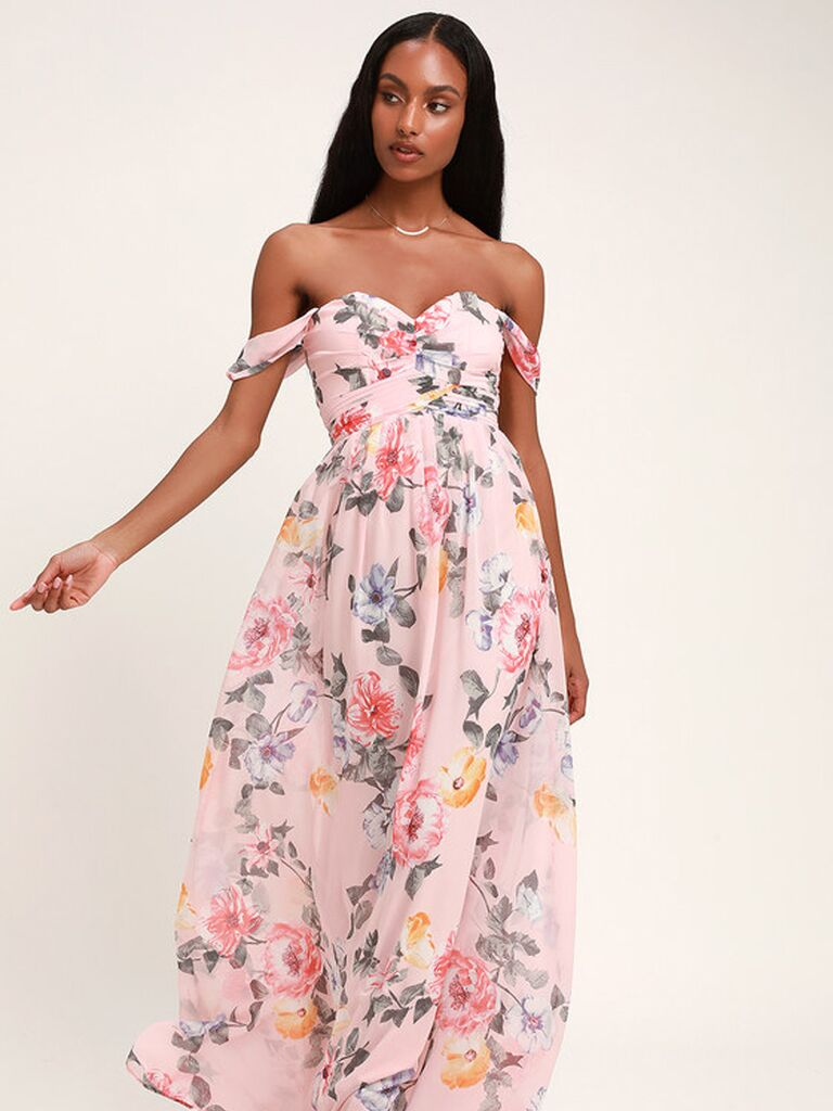 Pink off the shoulder floral bridesmaid dress