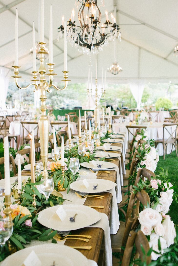 Leafy Garland, Taper Candle Wedding Centerpieces