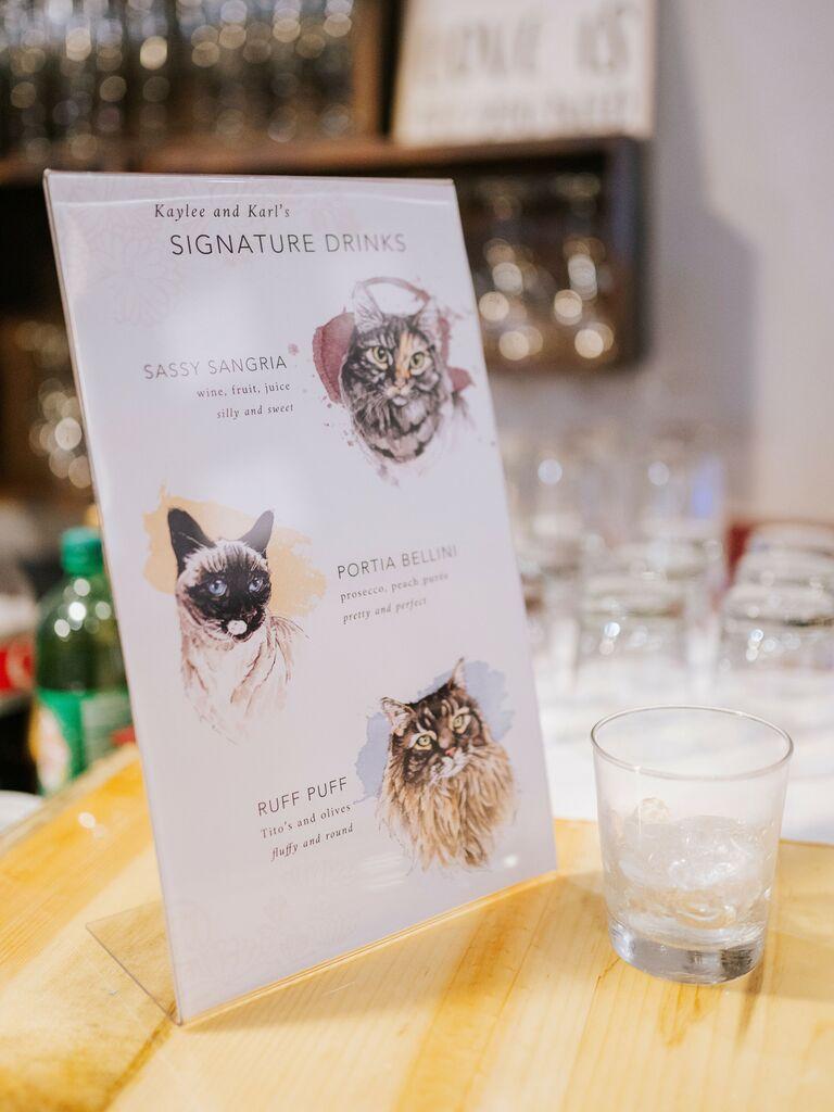 wedding drink ideas pet-inspired cocktails