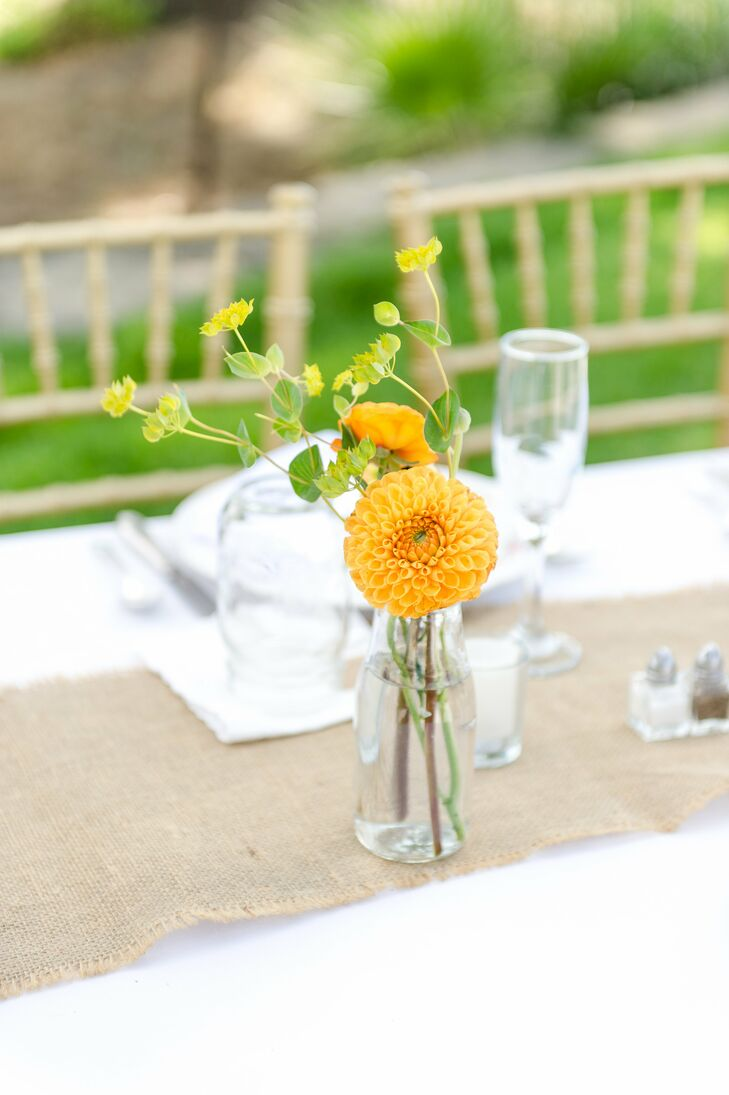 Bright Yellow Dahlia and Buttercup Centerpieces