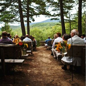 Outdoor Ceremony with Log Bench Seating