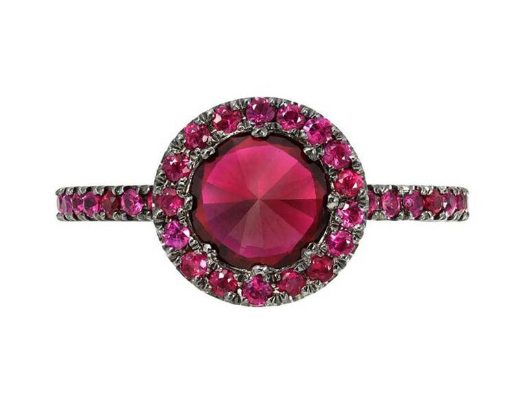 Ruby ring with ruby halo and black setting